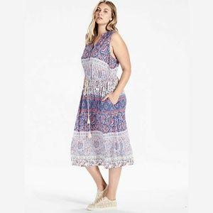 NWT Lucky Brand Midi Dress Floral Mixed Print 3X